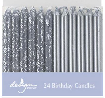 Birthday candles - Metallic silver