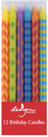 Birthday tall candles - Hooray stripes