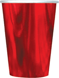 Red Metallic Paper Cups - Tableware