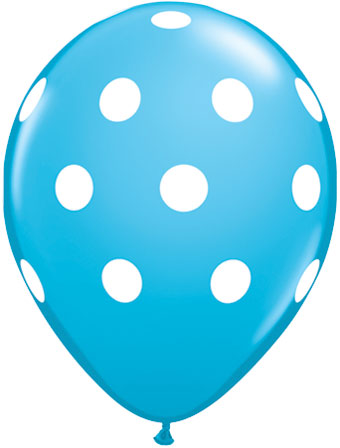 Dots white robin blue - Latex balloon