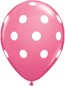Dots white pink - Latex balloon