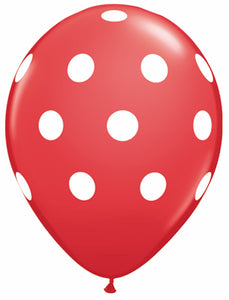 Dots white red - Latex balloon