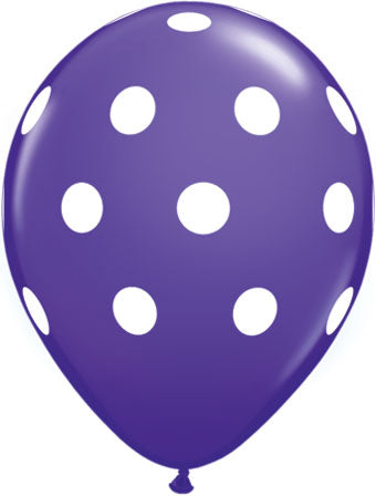 Dots white purple - Latex balloon