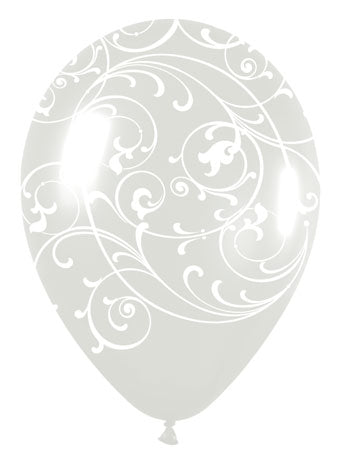 Filigree clear & white - Latex balloon