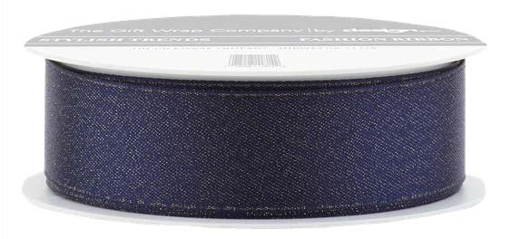 Navy Glitter Satin Ribbon