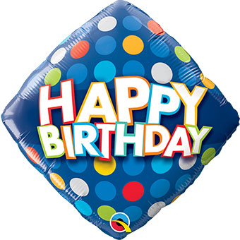 Happy Birthday - Blue Colorful Dots