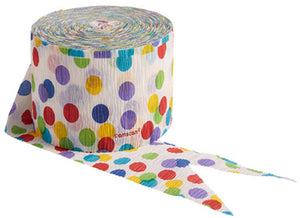 Multi color dots paper crepe streamer