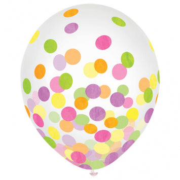 Multi Neon Paper w/ Confetti - Latex balloon