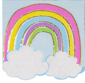 Beverage napkins - Rainbow with Clouds