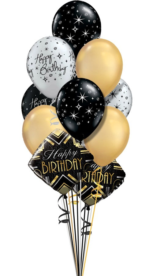 Gold Silver and Black Birthday Combo Bouquet