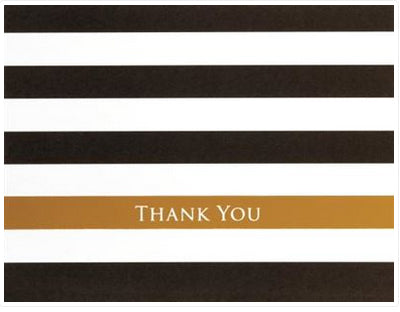 Black Gold Striped - Thank you boxed notes