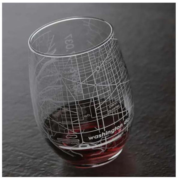 Washington DC Map Stemless Wine Glass
