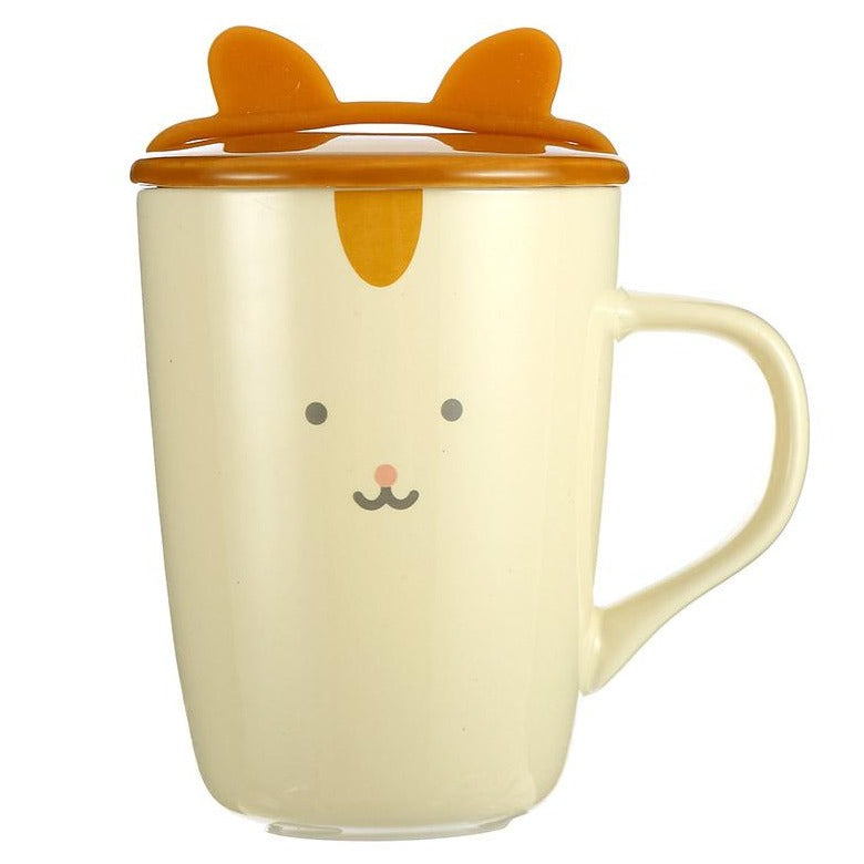 MINISO Cute Ceramic Mug 12.51oz for Coffee & Tea, Porcelain Cup with Lid
