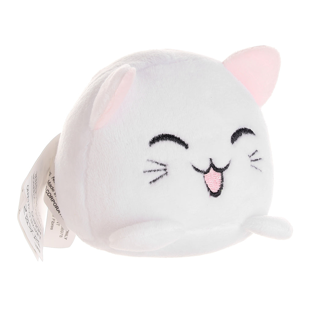 MINISO Cute Kitten Plush Toy with Sound, Smiling Cat Stuffed Animal Doll for Kids Children Girls Boys 3.1 Inch - White