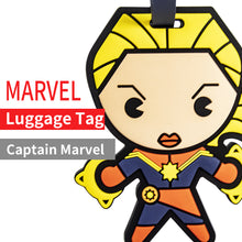 Load image into Gallery viewer, MINISO Funny Mavel Avengers Superhero ID Luggage Tag Bags with Suitcase Identify Labels, Captain Marvel