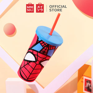 MINISO Marvel Tumbler with Straw 17oz Insulated Travel Mug | Coffee Beer Cup Stainless Steel - Spider Man