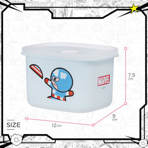 MINISO Marvel Food Container 13.5oz, Plastic Cartoon Storage Box for Kids Adults BPA-FREE - Captain America