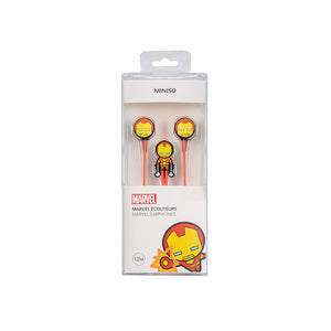 MINISO Marvel In-ear Earphone with Mic, Cute Cartoon Silicone Headphones Comfortable Earbuds for Mobile Smartphones Apple Samsung HTC Oneplus - Iron Man