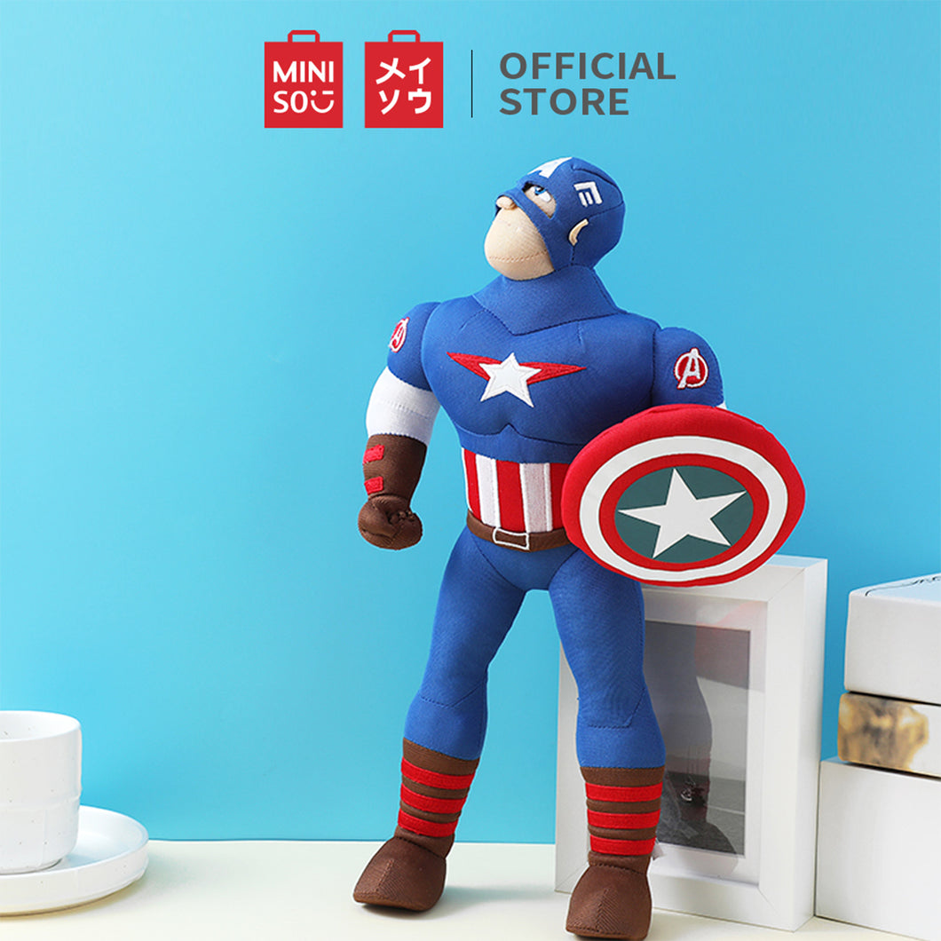 MINISO Marvel Plush figure Captain America, Cartoon Doll  Soft Stuffed Toy Gift for Kids, 13.8