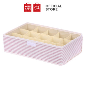 Stripe Series- 15 Grid Socks Storage Box With Lid (Pink)