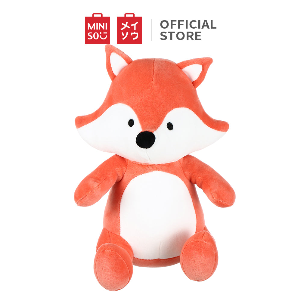 "MINISO Fox Plush Toy, Cute Stuffed Doll Gift for Kids Girls 12"" Sitting Animal - Red"