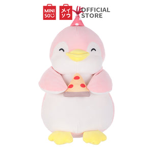 "MINISO Penguin Plush Toy, Cute Stuffed Animal Doll Gift for Kids Girls 13"" - Holding Pizza"
