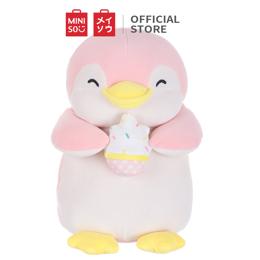 "MINISO Penguin Plush Toy, Cute Stuffed Animal Doll Gift for Kids Girls 13"" - Holding Ice-cream"