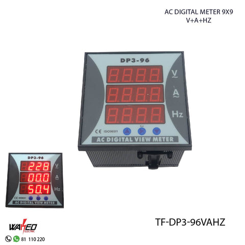 AC Digital Meter 9X9 - VOLT-AMP-Hz