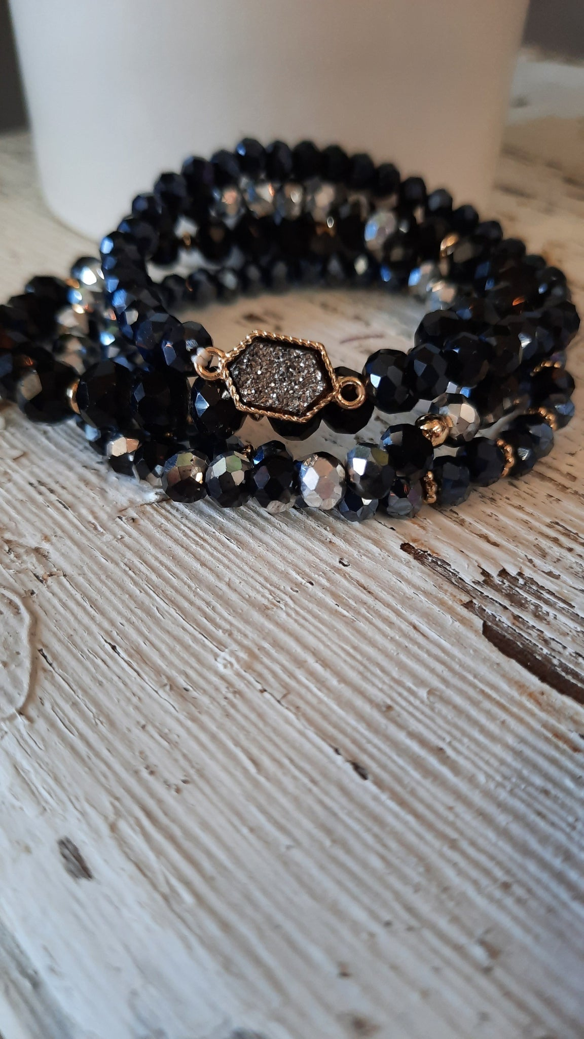 Black beaded stackable bracelets