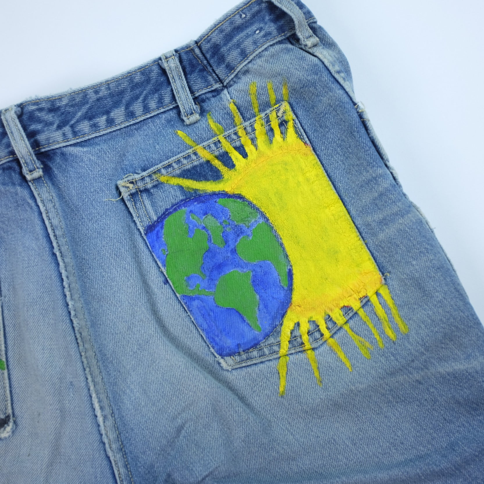 Vintage Hippie Custom Cutoff Denim Jean Shorts - 33""