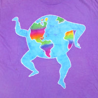 Vintage early 90s hippie love rainbow dancing world custom dyed tee - L