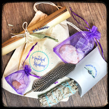 Load image into Gallery viewer, Home Cleansing Kit- Smudging & Crystal Healing Tools in an easy to use Kit