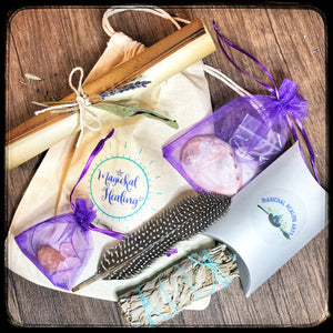 Home Cleansing Kit- Smudging & Crystal Healing Tools in an easy to use Kit