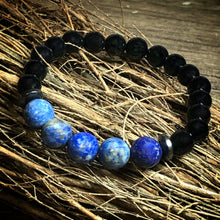 Load image into Gallery viewer, Black Onyx and Lapis Lazuli Bracelet