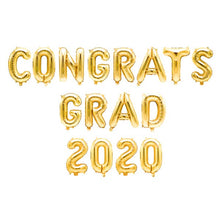 Load image into Gallery viewer, 16'' Congrats Grad 2020 Letter Balloon in Gold/Rose Gold