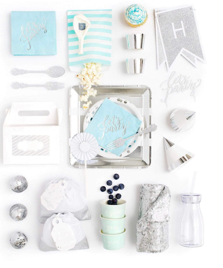 HUES OF BLUE PARTY COLLECTION BLUE SILVER PARTY IN A BOX - FOR KIDS