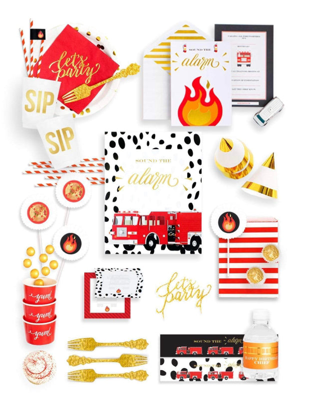 STOP, DROP & ROLL PARTY COLLECTION FIRE TRUCK PARTY IN A BOX - THE FANCY