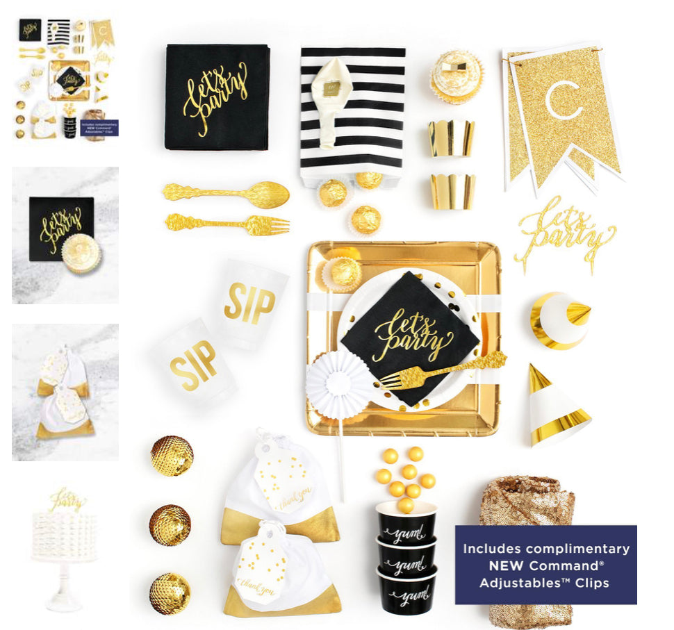 ELEGANT EBONY PARTY COLLECTION BLACK GOLD PARTY IN A BOX