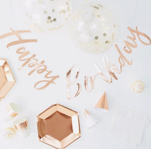 Rose Gold Foiled Complete Birthday Party In A Box