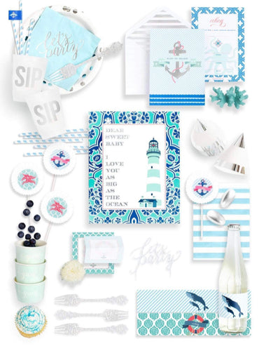 DEEP SEA PARTY COLLECTION NAUTICAL BABY SHOWER IN A BOX - THE FANCY