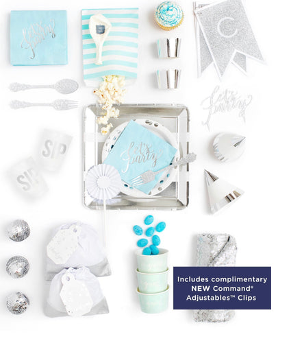 HUES OF BLUE PARTY COLLECTION BLUE SILVER PARTY IN A BOX