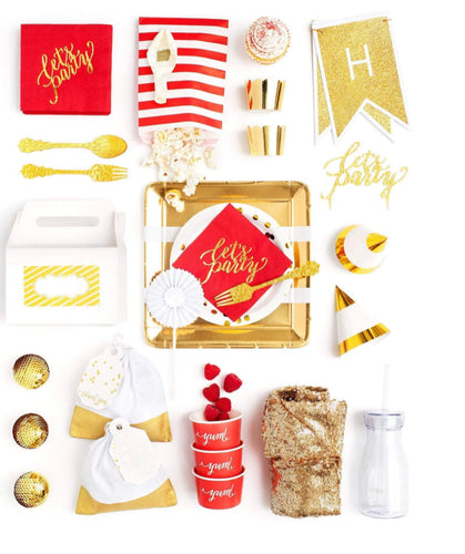 RUBY RED PARTY COLLECTION RED GOLD PARTY IN A BOX - FOR KIDS