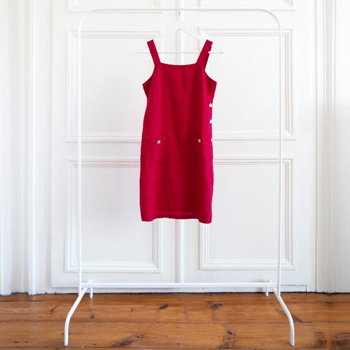 usure studio - robe chasuble lin rouge vintage