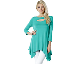 Women's Sexy Peep Front Long Sleeve Blouse Made in