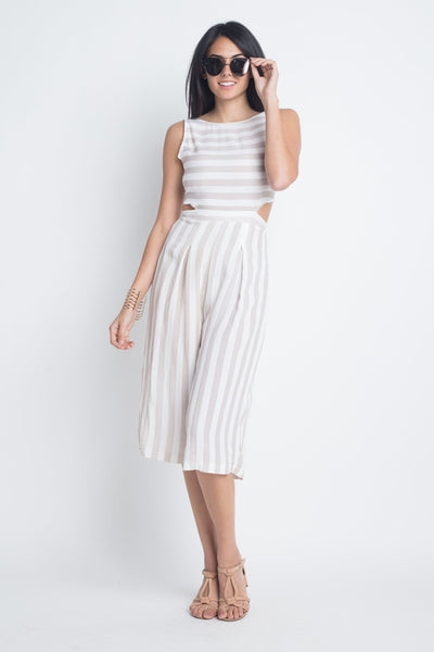Women's Stripe Cut-Out Sleeveless Jumpsuit