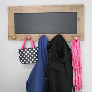 Coat rack with chalkboard