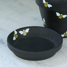 Load image into Gallery viewer, Black flower pot with bumble bees