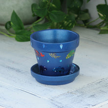 "Load image into Gallery viewer, 4"" Flower Pot, Blue With Fish"