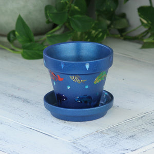 "4"" Flower Pot, Blue With Fish"