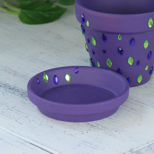 Purple flower pot with diamonds
